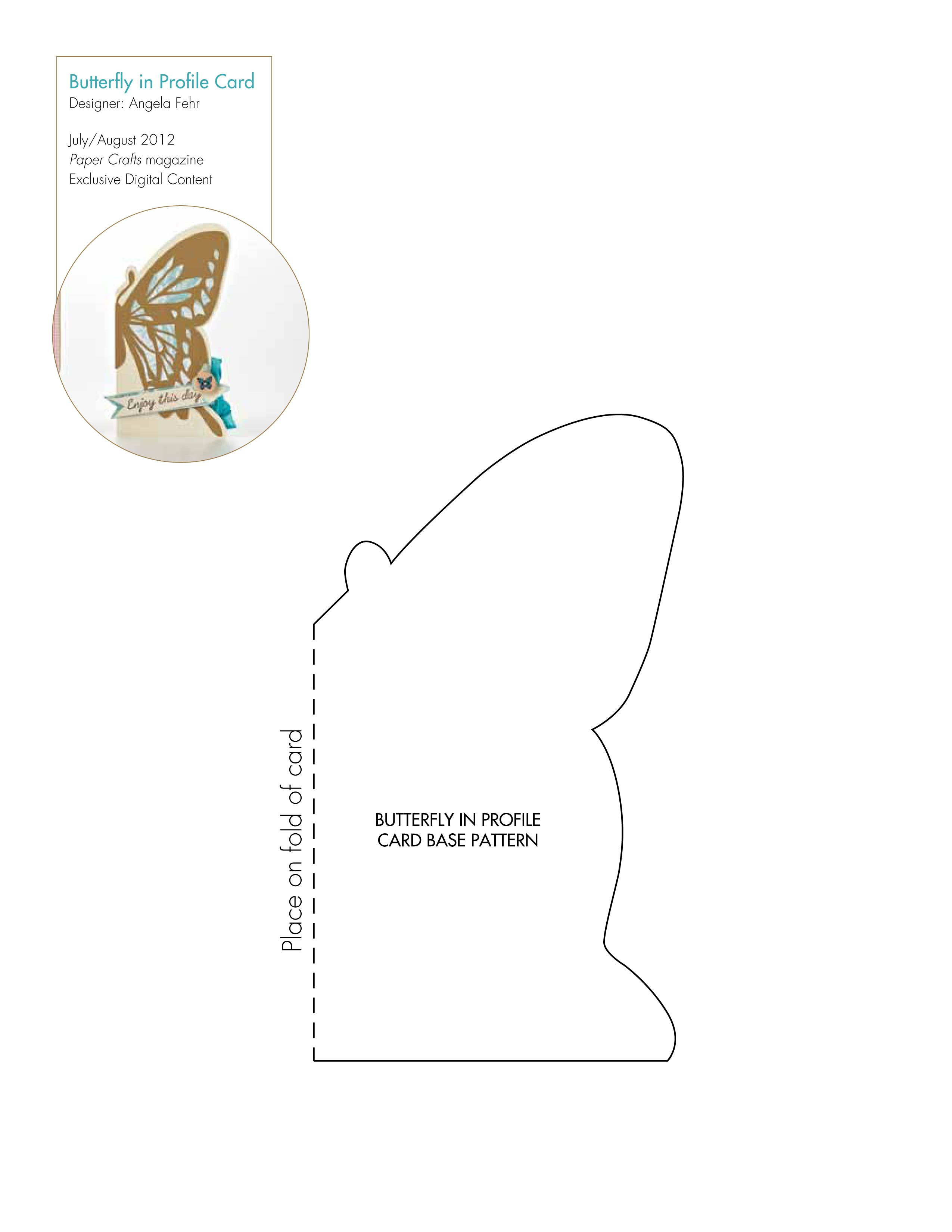 G20 Butterfly In Profile Card Jpg 2550 3300 Card Making Templates Card Patterns Card Sketches