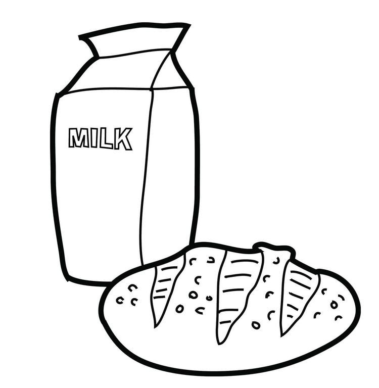 Milk And Bread Coloring Picture Food Coloring Pages Coloring