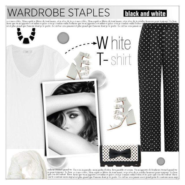"""Wardrobe Staple: White T-Shirt"" by alves-nogueira ❤ liked on Polyvore featuring Theory, Laurence Dacade, Closed, Chanel, Karen Kane and Betsey Johnson"