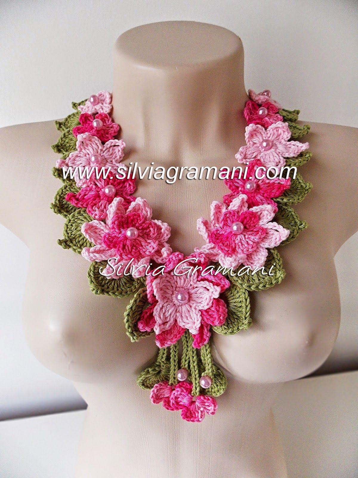 Colar de Crochê com Flores - Colar Encanto