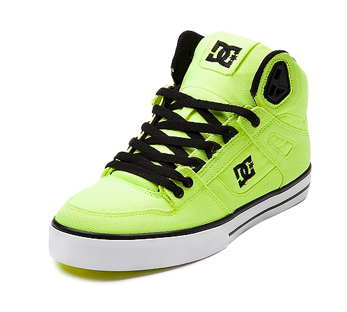 DC Shoes hi skate shoe in Neon Lime