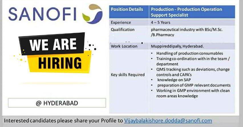 Sanofi Urgent hiring for B.Sc / M.Sc / B.Pharmacy