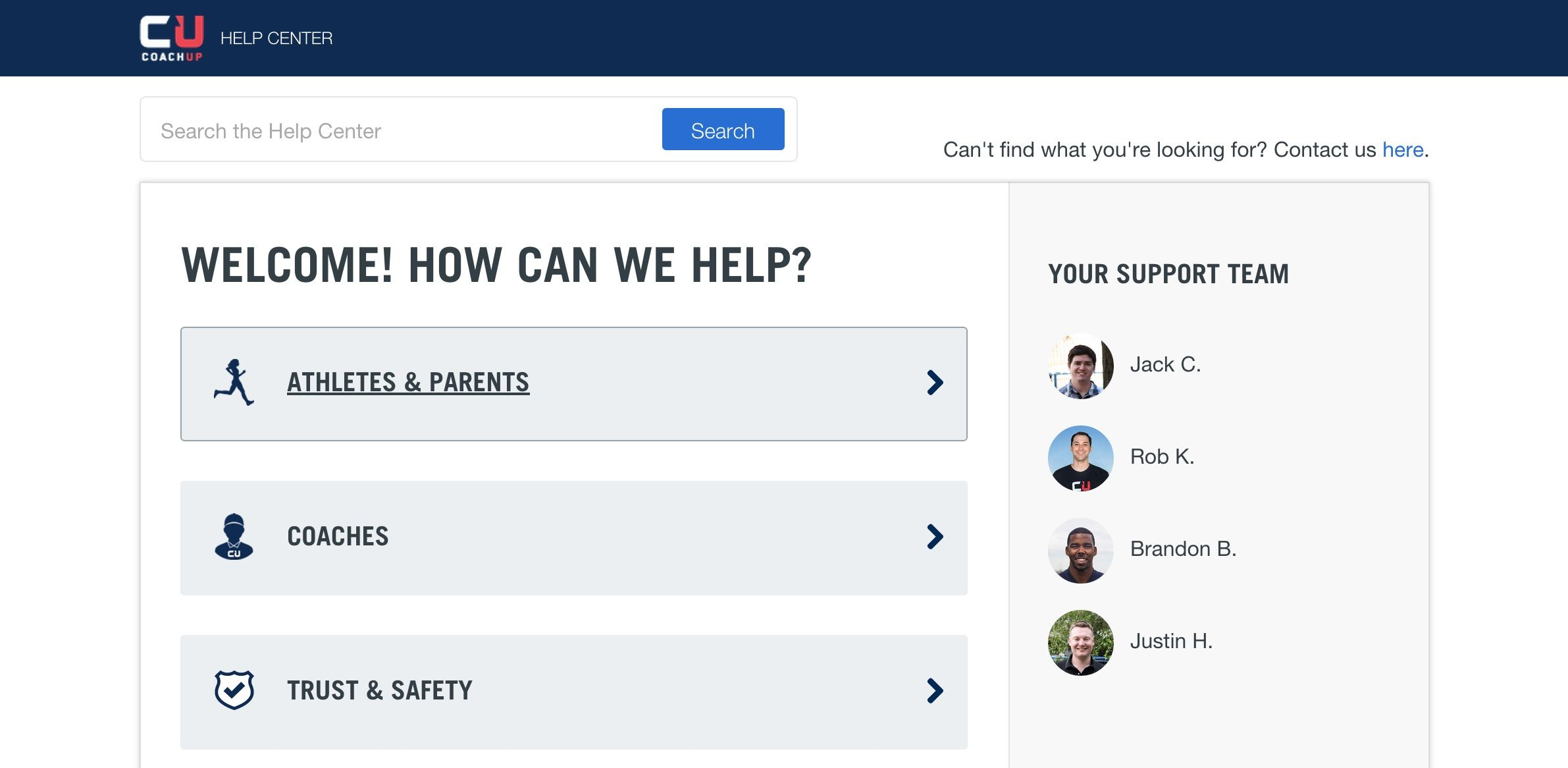 We love how Coach Up's Help Center shows photos of their support team. Simple. Personalized. http://support.coachup.com/hc/en-us