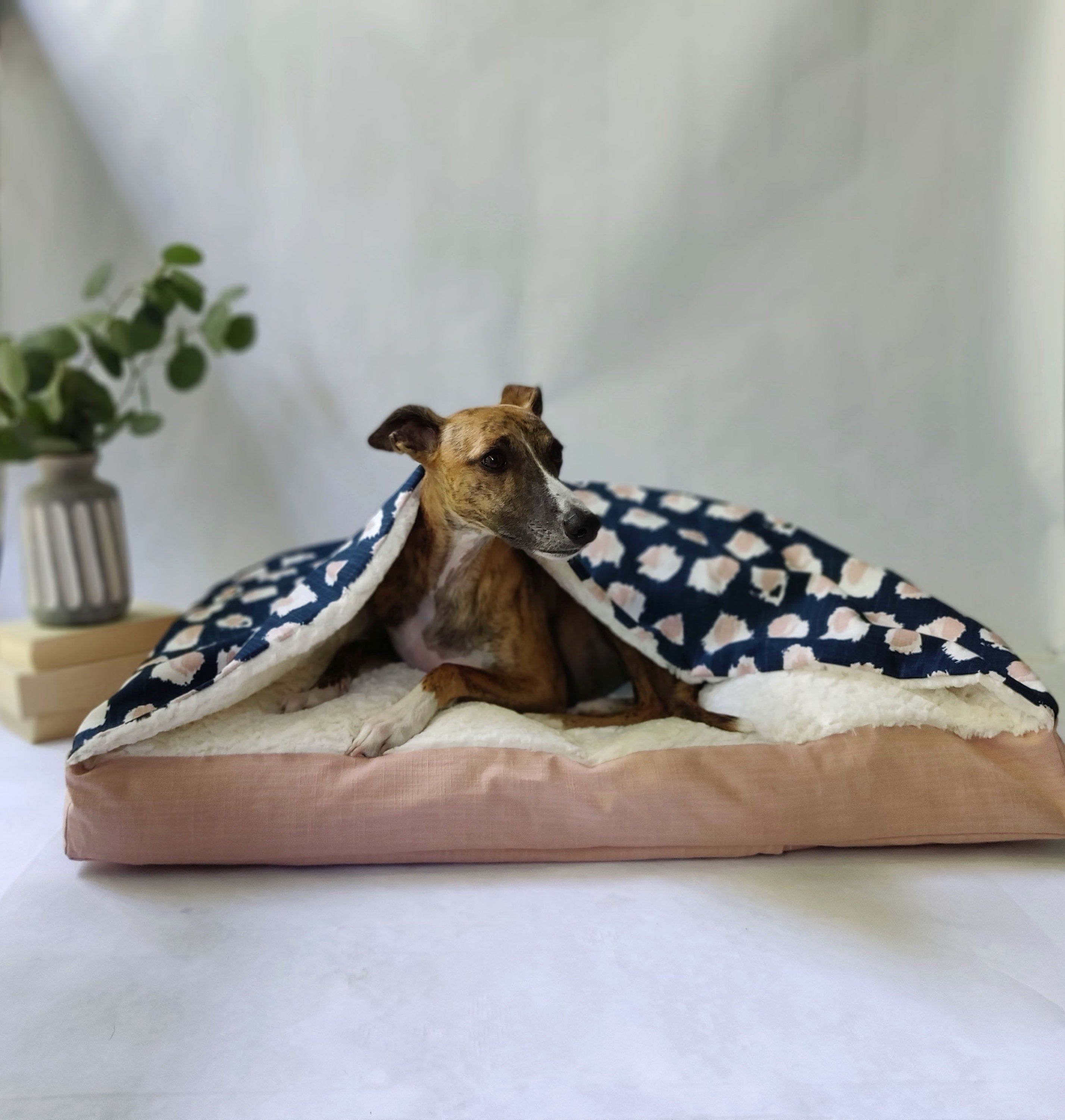 Blush Pink and Navy Snuggle Cave Dog Bed Cover / Burrow