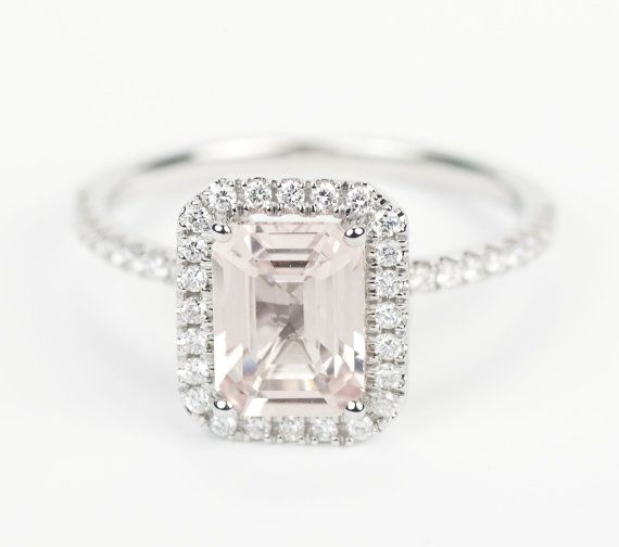 Certified Light Peach Pink Champagne Emerald Cut Sapphire Diamond Halo Engagement  Ring 14K White Gold Labor Day