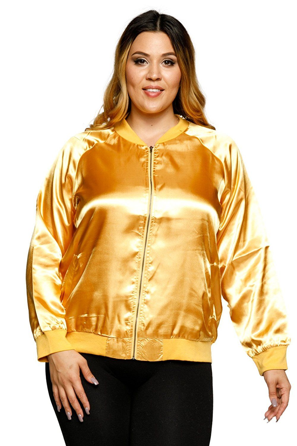 3ab5cbeb1157c Amazon.com  Hadari Women s Plus Size Satin Front Zip Bomber Jacket  Clothing