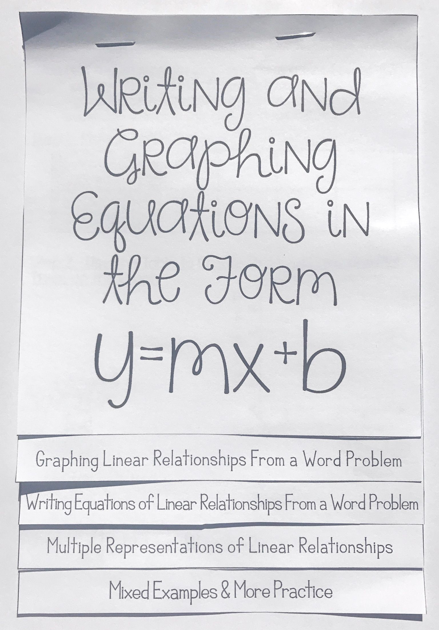 Writing Amp Graphing Linear Equations In The Form Y Mx B