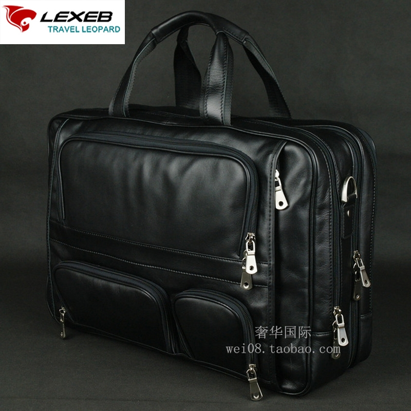 """131.99$  Watch here - http://alings.worldwells.pw/go.php?t=32771597405 - """"maletin cuero hombre Mens Black Briefcases LEXEB Brand Men Business Leather Laptop Bags 17.3"""""""" Men's Shoulder Bag High Quality"""" 131.99$"""