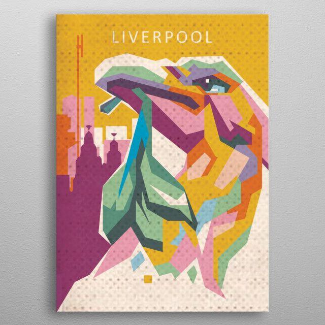 liverpool city with liverbird as symbol. #metalposter #liverpool #liverbird   Displate thumbnail