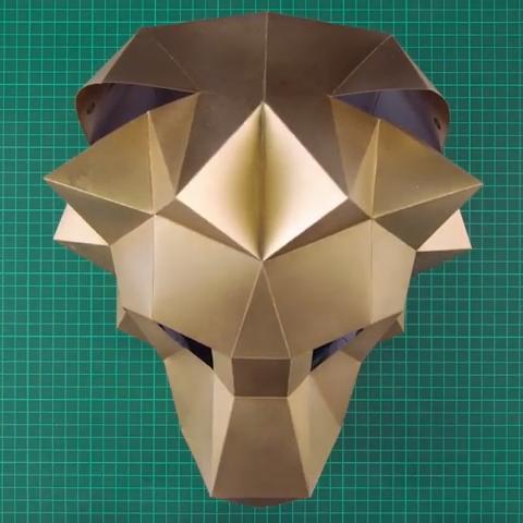 Photo of LION MASK   DIY TUTORIAL   Animal Head Aufsatz Mask Papercraft Mask Low Poly Vor…