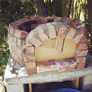 Building Up The Pizza Oven Door Using A Template.