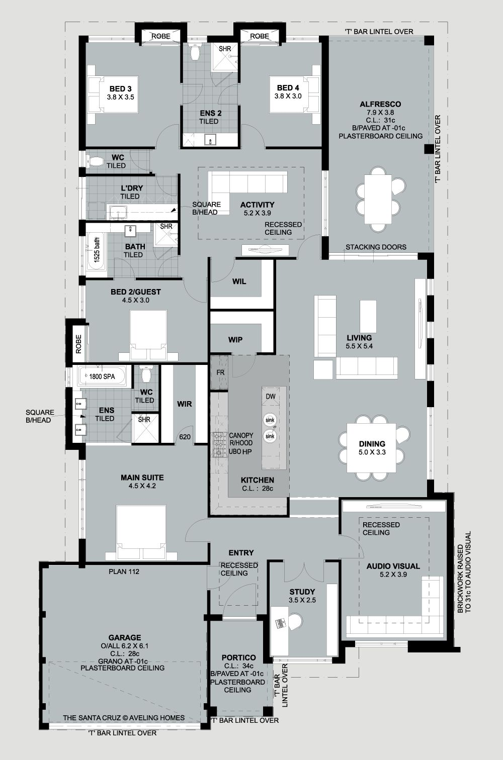 Good Layout 2 Ensuite Brooms 3 4 Share Bathroom Master Not In The Best Position 0112 Santa Cruz Family House Plans New House Plans House Blueprints