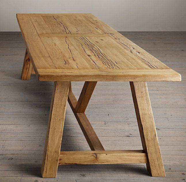 Reclaimed Russian Oak Trestle Rectangular Dining Table