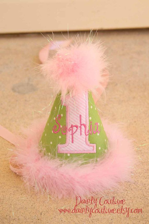 First Birthday Party Hat Green Dots And Pink By DaintyCouture 2500