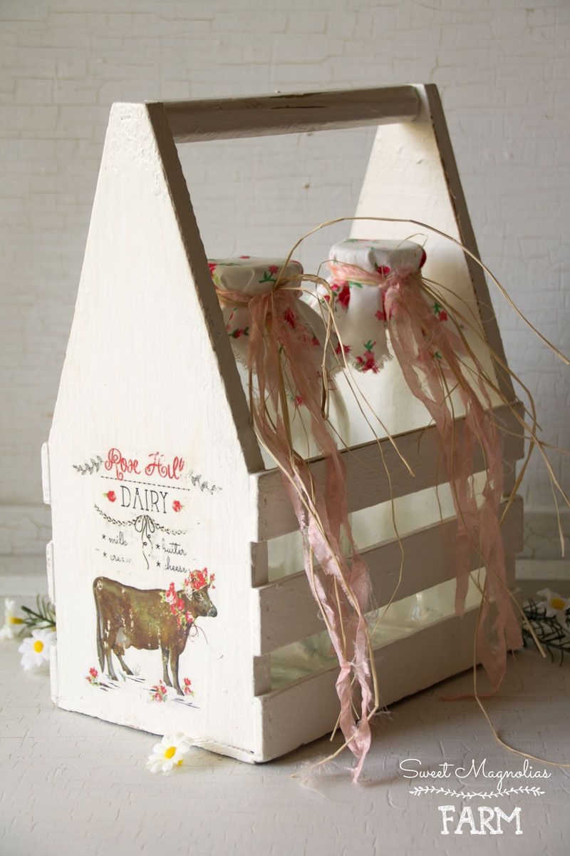 Farmhouse Milk Bottles and Wood Carrier Rose Hill Dairy