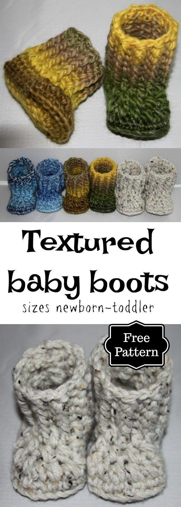 Crochet textured baby-toddler boots - #crochetbabyboots