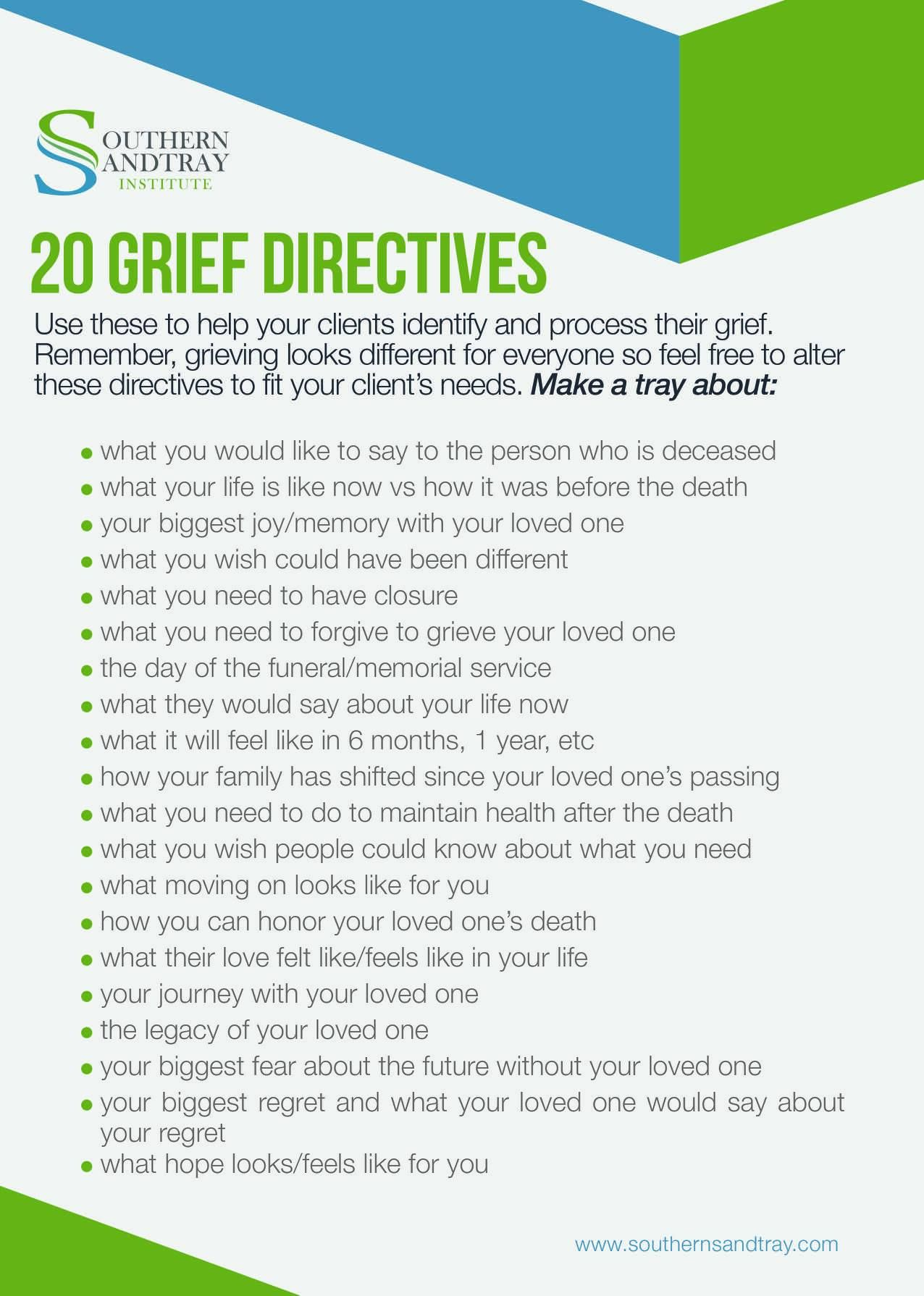 20 Grief Directives Sandtray Suite