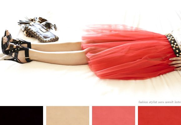 black, beige, red, pink