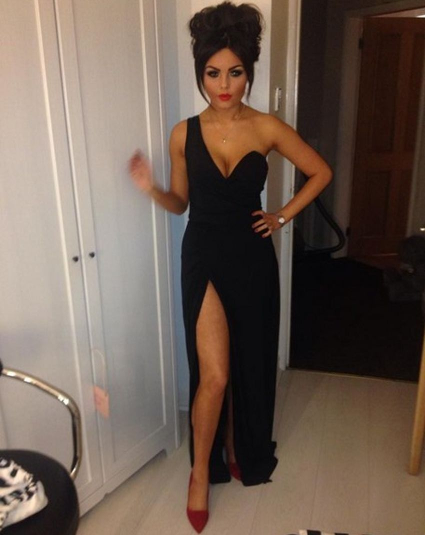 Cheap long black one shoulder side slit sexy evening dresses party