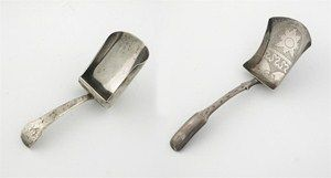 A George III engraved caddy scoop, with a hollow Fiddle stem, initialled 'ED', by Joseph Taylor, Birmingham 1811 and a George III caddy spoon, plain with a Fiddle stem, initialled 'S', by Samuel Pemberton, Birmingham 1806. (2)  Estimate: £140-150  Lot: 524  Sale: Silver and Coins (SV291008)
