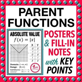 Parent Function Graph Posters with Domain Range and Key Points ***Completely Updated*** This file contains 11 posters containing the graph, domain, range, end behavior and primary (graphing transformation) points of the following parent functions: square root cube root cubic quadratic linear constant greatest integer absolute value reciprocal exponent logarithmic A fill-in version is also included. ...