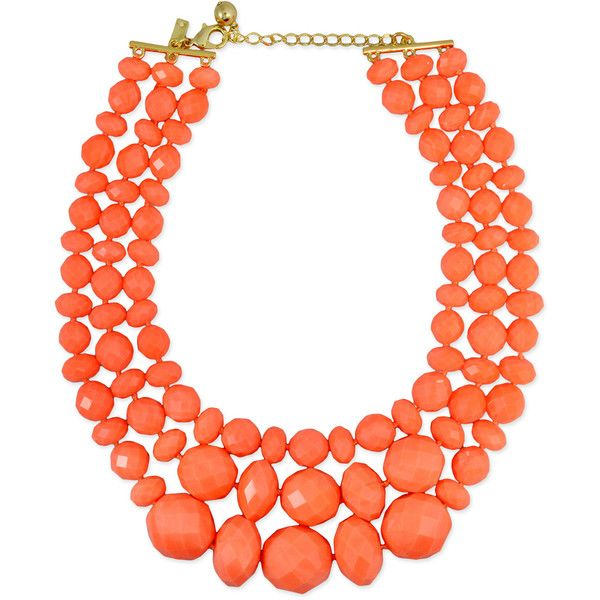 Rental kate spade new york accessories Coral Swirl Triple Row Necklace (€22) ❤ liked on Polyvore featuring jewelry, necklaces, accessories, orange, orange necklace, coral necklace, triple necklace, coral jewelry and coral jewellery