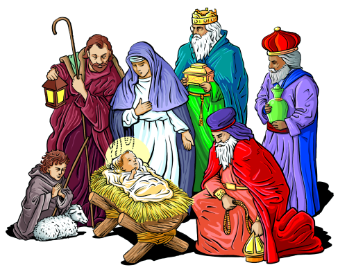 Image result for three wise men and jesus clipart