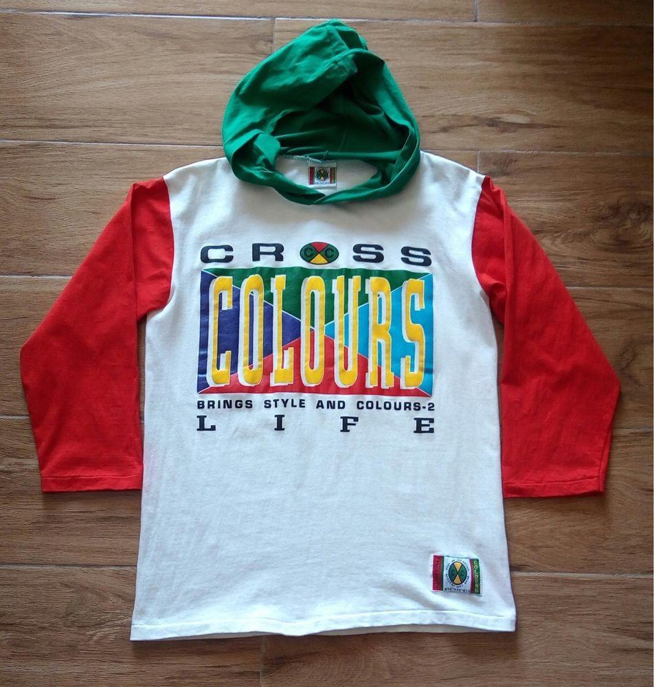 0e5797c82 Vintage 90s CROSS COLOURS Color Block Rap Hip Hop Hoodie T Shirt ...