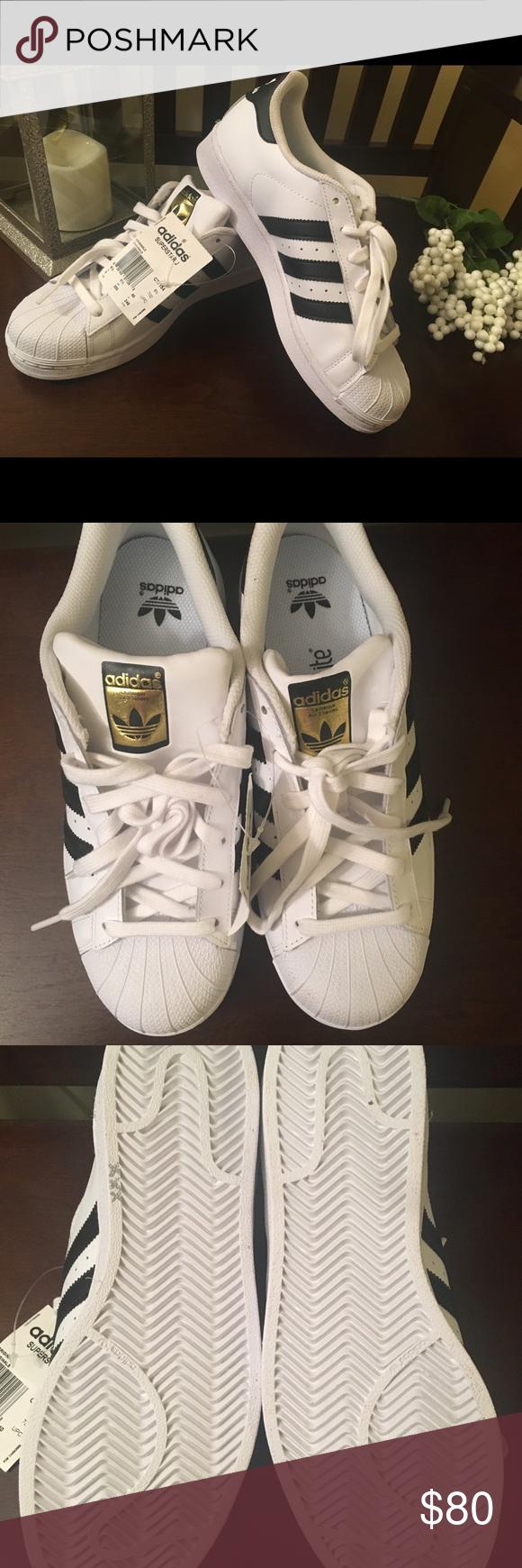 adidas superstar black white gold size 7