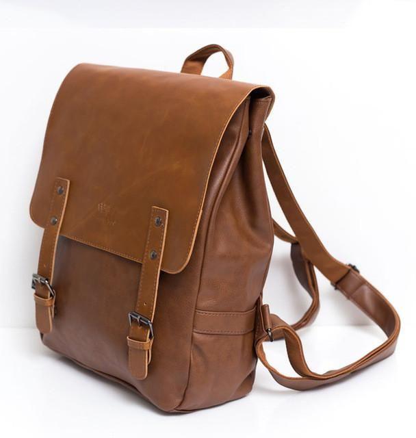 Unisex PU Leather Backpack School Bag Trendy Shoulder Bag