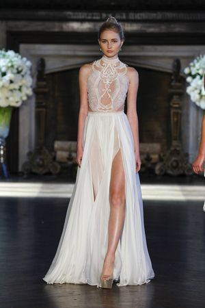 Mock Neck Beaded Bodice With Flowy Skirt By Alonlivnewhite Bridal Market Fall