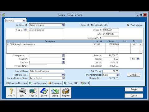 Video - How to create a Sales Invoice in MYOB MYOB Philippines - sales invoice
