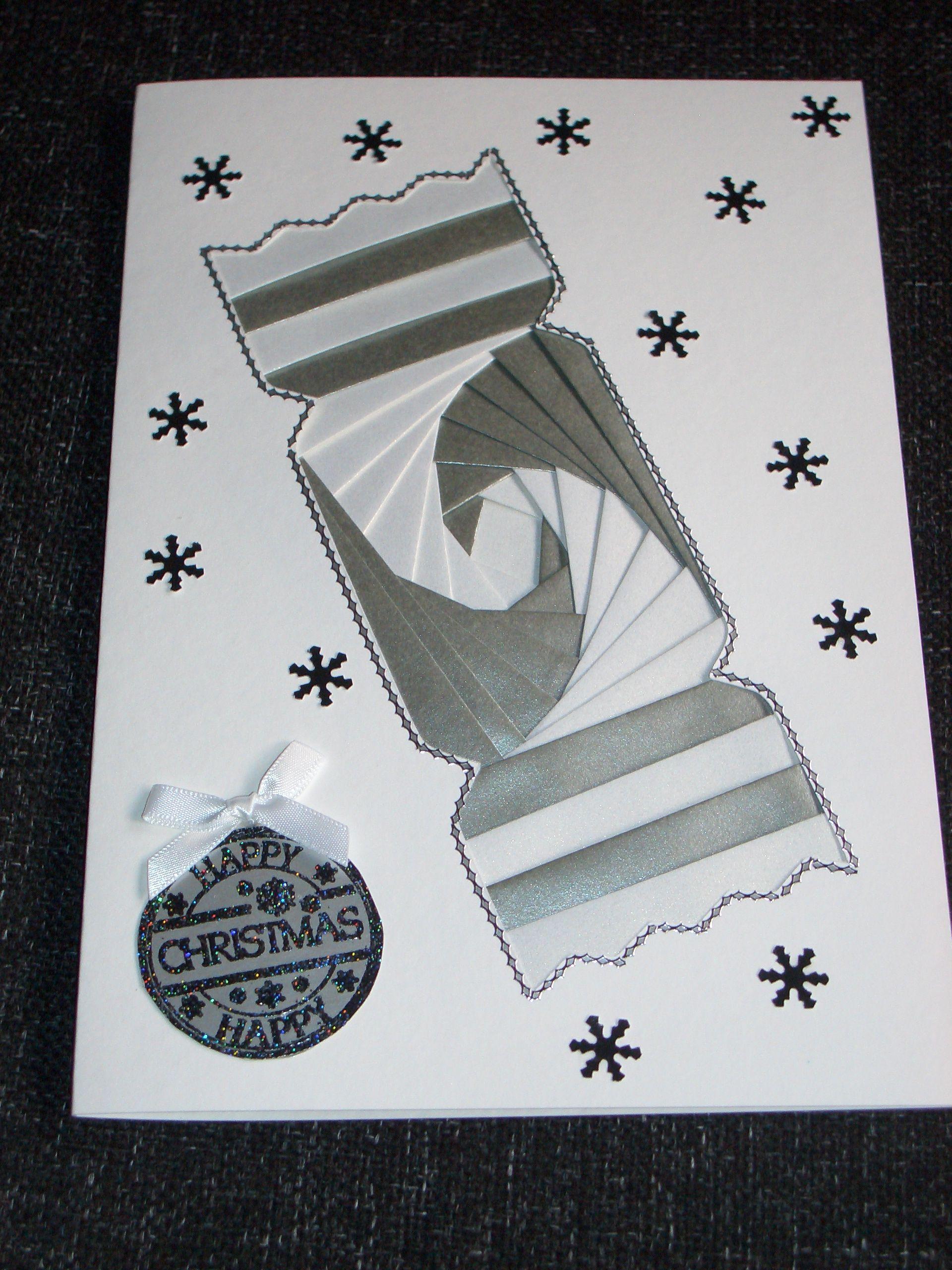 Silver Christmas Cracker Iris Fold Card Card Patterns Christmas Cards Handmade Iris Folding Pattern