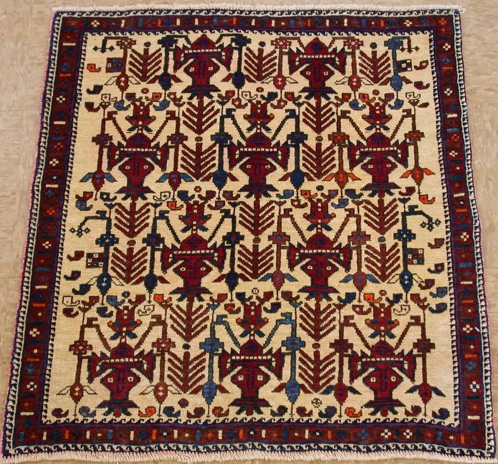 Persian Afshar Tribal Nomadic Hand Knotted Wool Ivory Red Oriental Rug 2 X 3