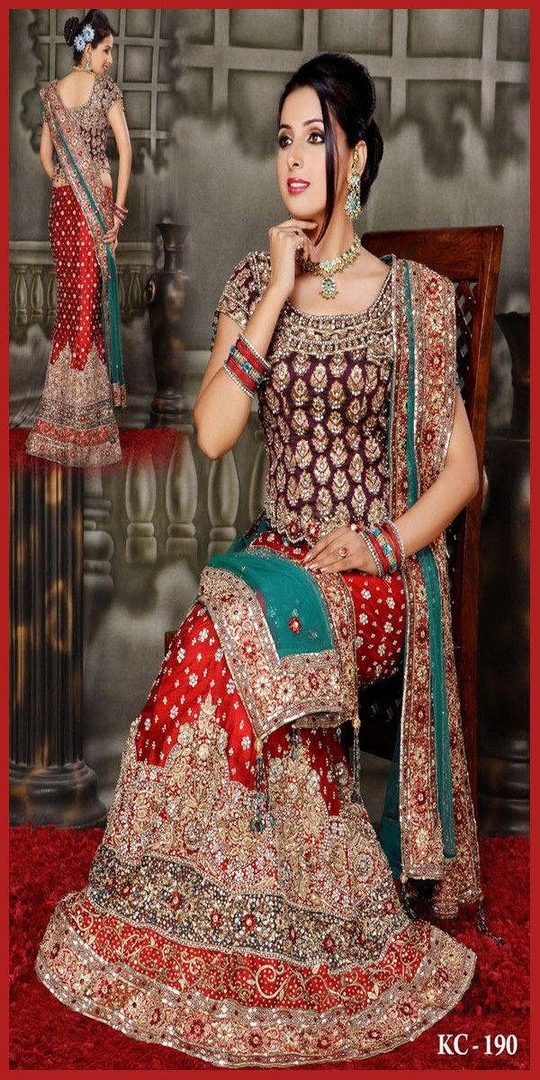 Bridal Gharara With Kundan Work | Indian marriage dress ...