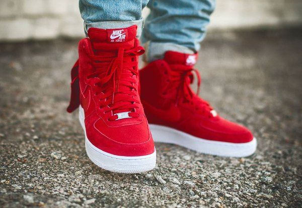 nike wmns air force 1 hi suede red heels