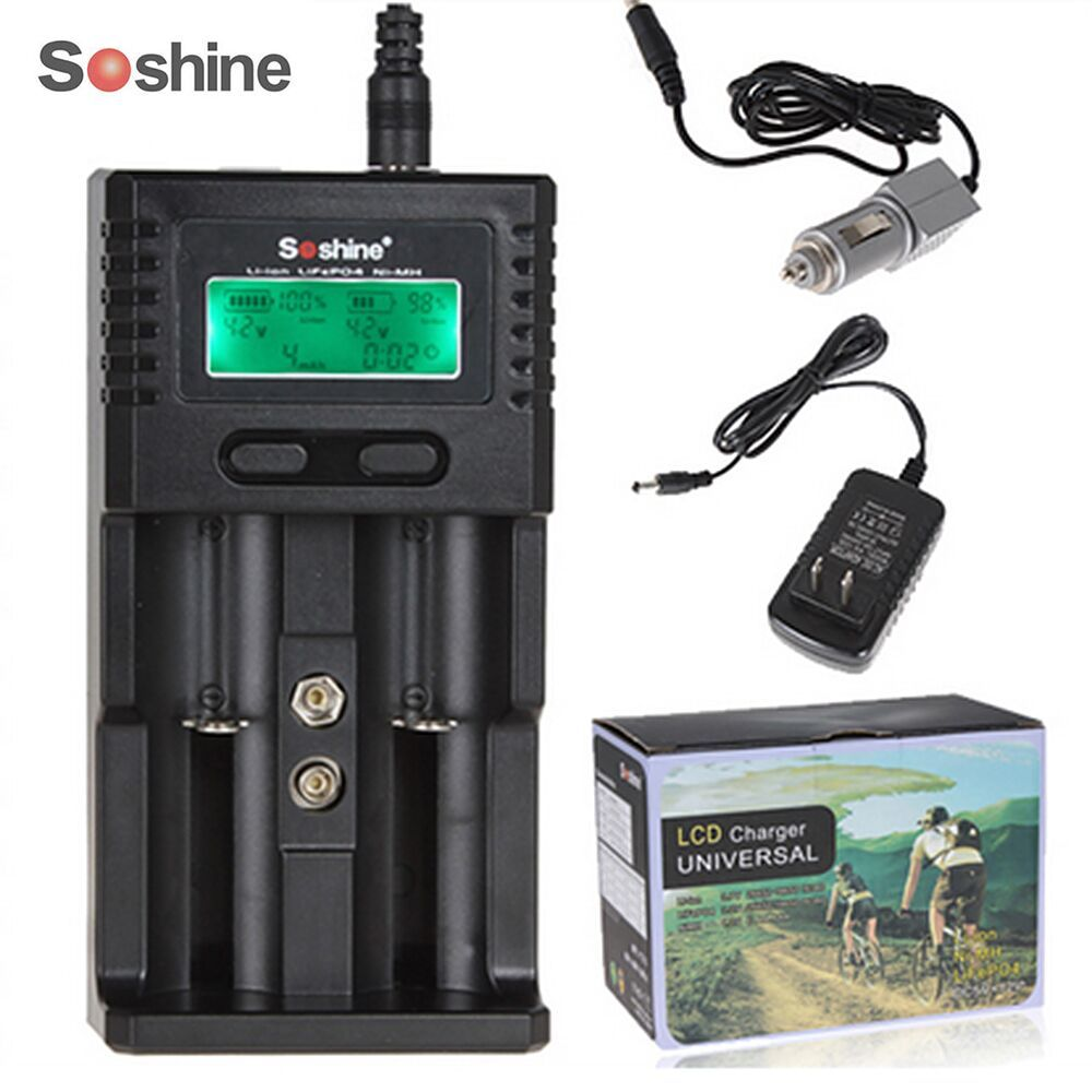 SoShine SC-H2 LCD Universal Charger for 26650 18650 16340 14500 AA AAA C Battery