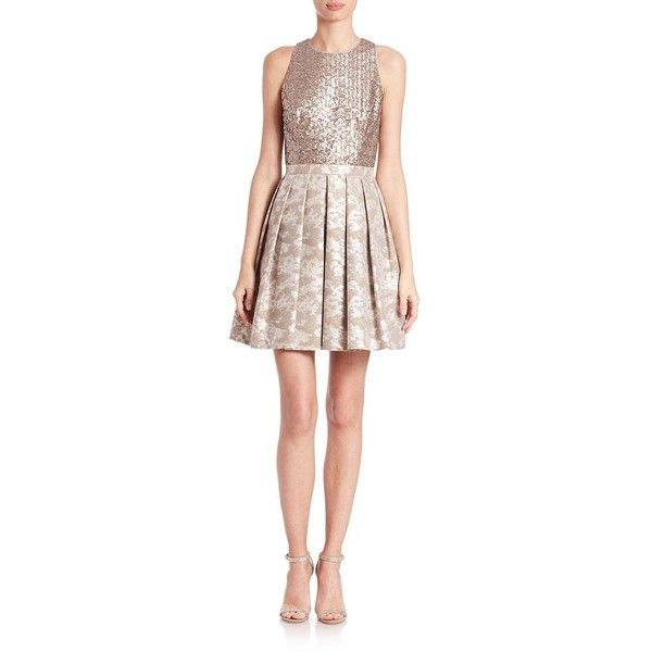 Aidan Mattox Metallic Jacquard Dress ($300) ❤ liked on Polyvore ...