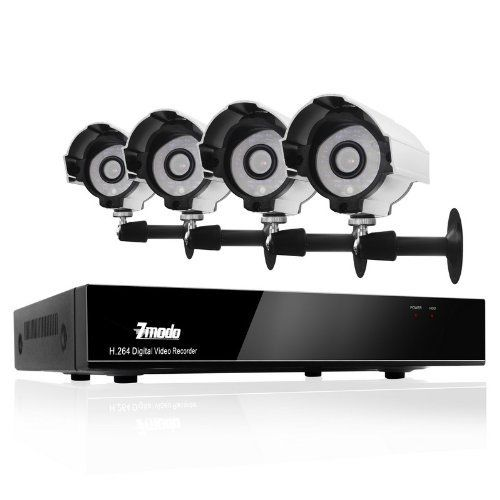 Zmodo CCTV 4 Channel H 264 Real Time DVR + 4 Outdoor Security