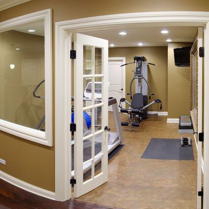 gym with french doors and windows  home gym design small