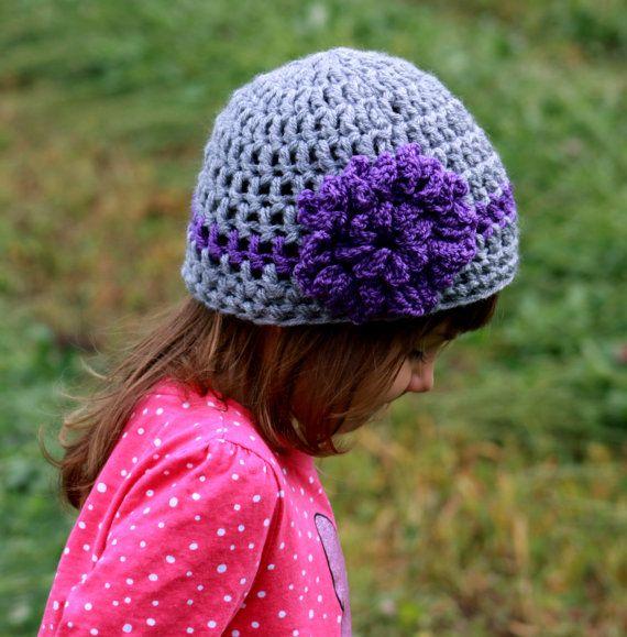 Girls Beanie Hat with Flower, Girls Hat, Crocheted Beanie for Girls ...