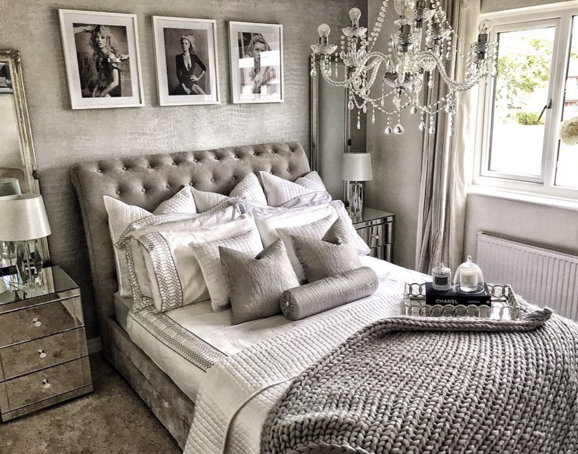 Glam silver home interiors  Luxury bedroom master, Redecorate