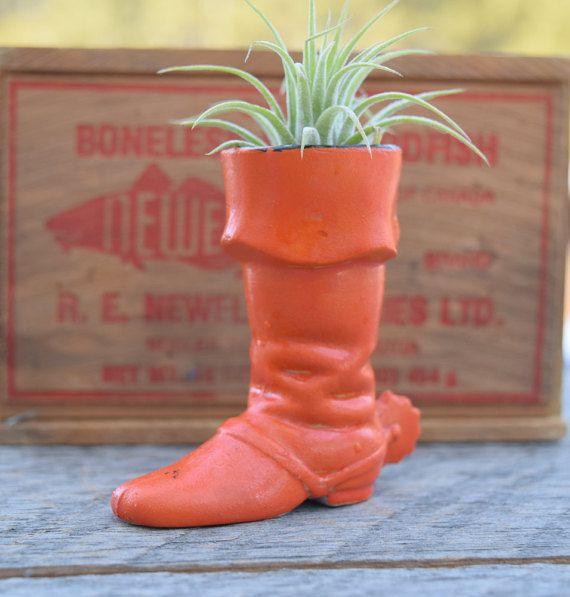 Mini Boot Planter Cowboy Boot Orange Boot by SweetPetuniaVintage