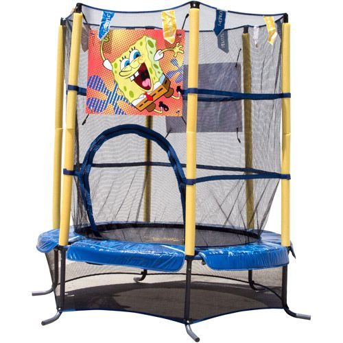 "Airzone 14 Spring Trampoline And Enclosure Set: $69 55"" Kids Airzone SpongeBob SquarePants Trampoline With"