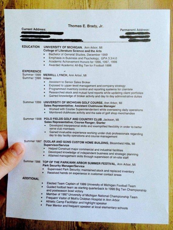 Tom Brady Throws Back Thursday With Post-College Resume NFL - park ranger resume