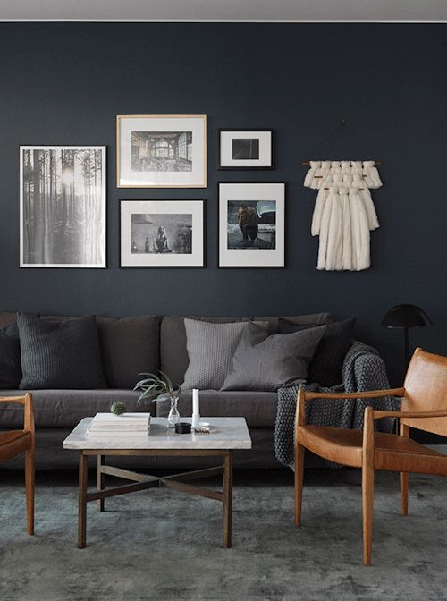 Dark fabric sofa with dark painted walls, Image credit from ...