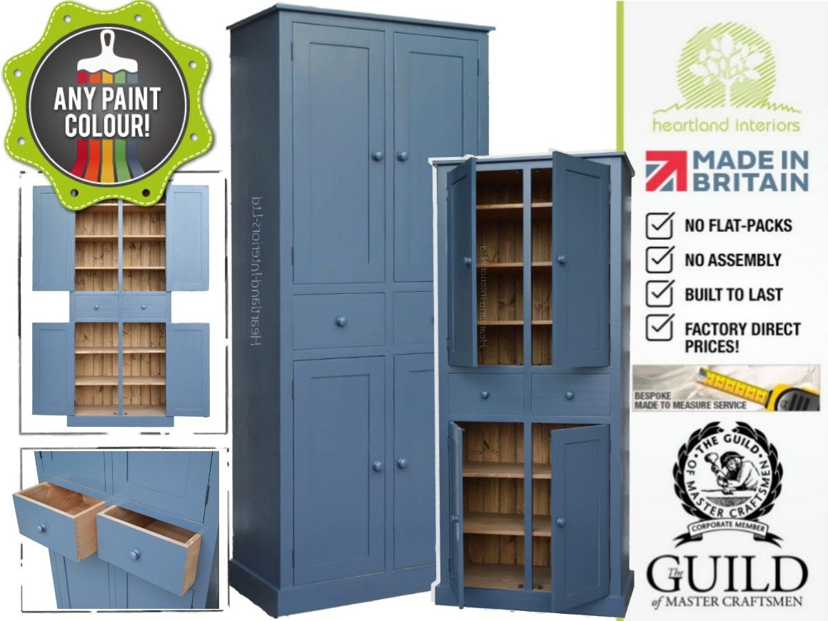 Contemporary Painted, 7ft Tall Kitchen Storage Cupboard with Drawers ...