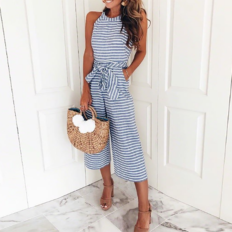 Striped Vacation Casual Jumpsuit #casualjumpsuit Product Name Striped vacation casual jumpsuit Gender Female Material Polyester Length Long Sleeve Length Sleeveless Collar Round Collar Style Elegant Occasion #casualjumpsuit