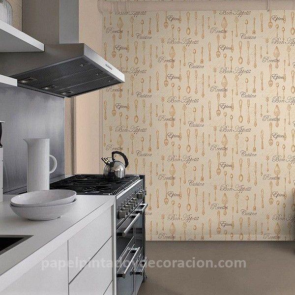 Papel pintado utensilios de cocina tonos beige crema y for Papel pintado vinilico cocina