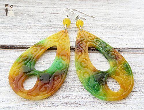 Yellow Jade Earrings Carved Large Drop Sterling Silver 925